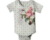 Baby Girl Floral Bodysuit - Personalized Blue Floral Baby Shirt, Custom Infant Pink Botanical Rose One-Piece