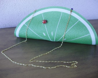 Lime Green Clutch--Lime and Ladybug Placemat Bag