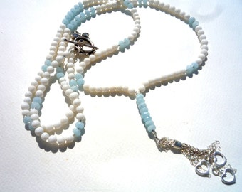 Long gemstones necklace, White  Coral necklace,   Aquamarine gemstone  necklace, Bohemian chic necklace, Beaded necklace,