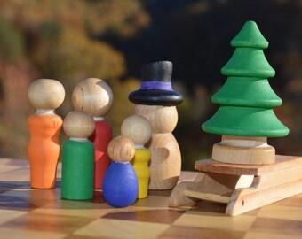 Winter Family Fun Activities Rainbow Wooden Sensory Toy Pretend Play Peg People