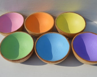 Montessori Inspired Sorting Bowls Wooden Pastel Rainbow Sensory Toy (bowls only)