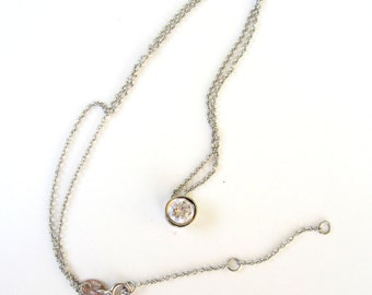 Sterling Silver Solitaire Slider Pendant Necklace