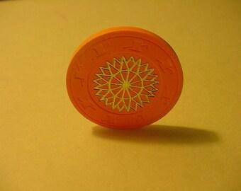 1980's Orange Clay Casino Starburst Chip Roulette Poker Hat/Cane Mold Collectible Gaming Memoribilia