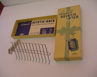 New Compact Fold Down Necktie Rack in Original Box Androck Product USA 1940's