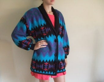 Vintage 80s oversize aztec cardigan jumper graphic knitted sweater L - XL / freesize