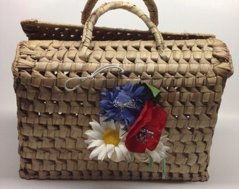 Vintage Straw Tote Bag Spain Straw Bag 1960 Handbag Straw Raffia Summer Vacation Made in Spain with Poppies and Daisies