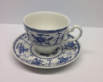 Vintage Johnson Brothers Blue Indies Cup and Saucer