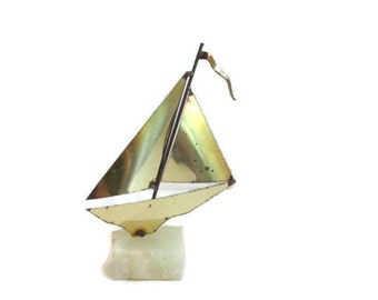 Brass Boat Mid Century Modern Nautical Sailboat Beach House Decor