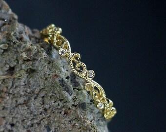 Diamond Wedding Band Engagement Ring with Swirl & Milgrain Beading Edge Rheia Custom Size White-Yellow-Rose Gold-10k-14k-18k-Platinum
