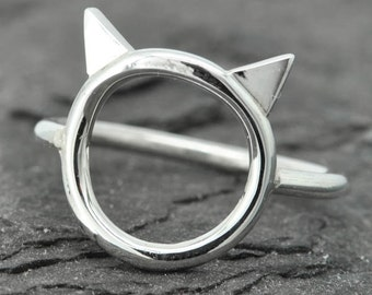 Cat ring, cat ear ring, kitty ring, 925 sterling silver, custom made