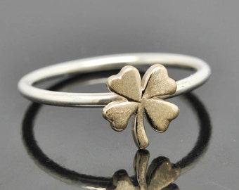Clover ring, gold ring, sterling silver ring, stacking ring, four leaf clover ring, 4 leaf clover ring, lucky ring