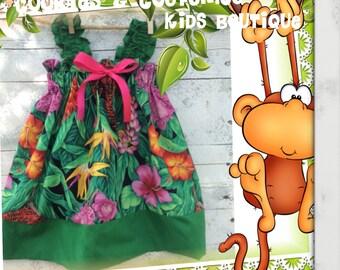 Rain forest ,jungle green girls cotton dress for spring,summer, flower girls, photo prop