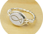 REVERSIBLE Christian Fish/Jesus Ring- Sterling Silver Filled Wire Wrap with Pewter Bead - Any Size 4, 5, 6, 7, 8, 9, 10, 11, 12, 13, 14