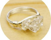 Clear Quartz Cluster Ring- Sterling Silver, Yellow OR Rose Gold Filled Wire Wrapped Ring with Chip Gemstones-Size 4,5,6,7,8,9,10,11,12,13,14
