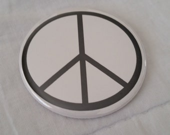 """Peace Sign White and Black Pinback Button or Magnet 2.25"""" inches"""
