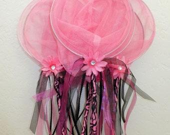 Pink Butterfly Nets - Pink Zebra Party Fairy Catcher Nets - Zebra Birthday Favors, Pink Critter Catchers, Bug Party