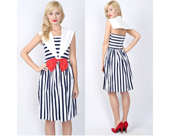 Vintage 80s Navy Blue + White Nautical Sailor Dress Bow Striped XS Small 0523