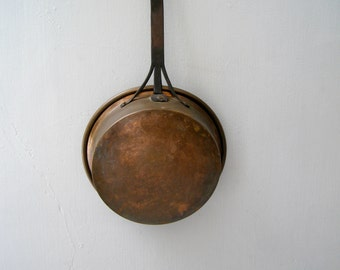 Rustic Forged Heavy Pan Pot, Antique Iron & Copper Kitchen Restaurant decor Big Stove pan, Farmhouse Ranch decor, Retro Utensil wallhanging