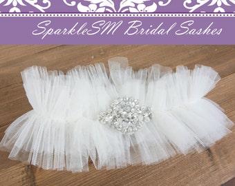 Bridal Garter Wedding Garter Belt Rhinestone Garter Toss Garter Crystal Garter Custom Garter Keepsake Garter White Garter Bridal Accessories