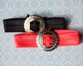 Elastic Hair Ties with Tribal Printed Silver Concho - Coral and Black - Doubles as a Bracelet - Hair Accessory - Ponytail Holder