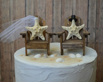 Beach-wedding cake topper-Adirondack chairsnautical-blue-coral-destination wedding-his and hers-bride and groom-beach wedding