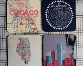 Coaster Set. Chicago Landmarks Skyline Illinois Map Cork Back Home Accessories