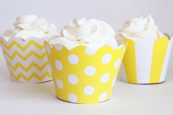 Yellow Cupcake Wrappers Polka Dot Chevron Stripe Cupcake Liners Gender Neutral Girls Yellow Party Supplies Yellow Birthday Party / Set of 12