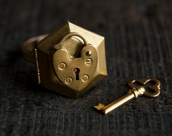 Poison Ring Locket - Gold Brass Heart Hexagon Secret Compartment