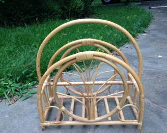Vintage art deco rattan magazine holder
