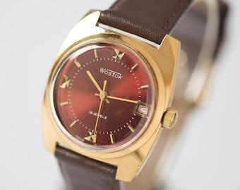 Vintage men's watch gold plated Vostok, burgundy face men's watch, rectangular watch, shockproof watch gift, gents accessory premium leather