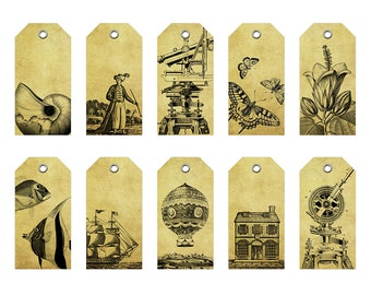 Pack of 10 Paper Tags With Grommets - Vintage Motives