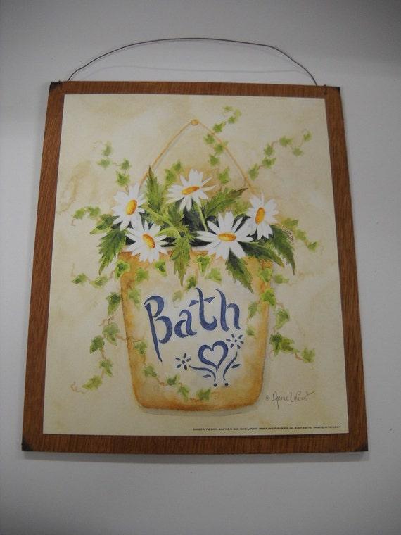 Daisy bath flowers powder room wooden wall art sign bathroom for 9x11 bathroom ideas
