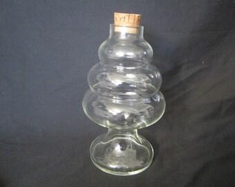 Vintage Hand Blown Glass Jar with cork top