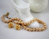 Vintage Faux Pearl Necklace/ Earrings/ Wedding Jewelry