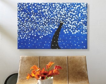 Clearance Sale: White Blossom Tree. Original Handpainted Acrylic Thick 3d Texture Impasto Palette Knife Painting. Size 24 x 36.