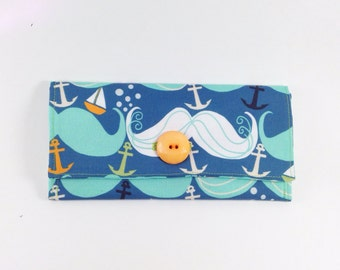mustache wallet | nautical with waves sail boats and anchors
