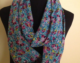 New Long Light Weight Material Infinity Scarf with a Floral Design
