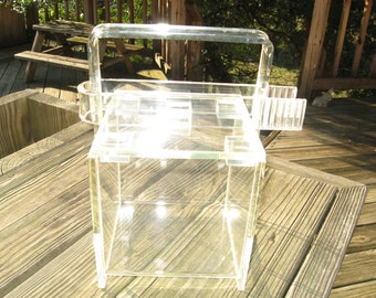 Rialto Thick Lucite Cube Ice Bucket w/ Tongs Made in USA- Mid Century Modern Lidded Box Candy Dish Display Case