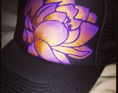 Slate grey trucker and purple ombré lotus