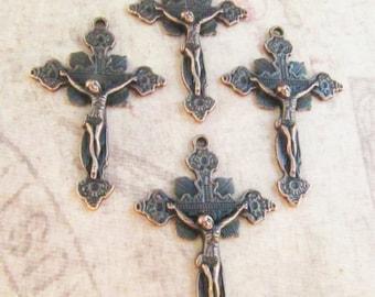 Gorgeous Vintage Style Antique Copper Crucifixes - set of 4