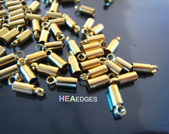 Finding - 20 pcs Gold Round Tone Cord End Buckle Cap with Loop for Leathers 6mm x 2mm ( inside 1mm Diameter )