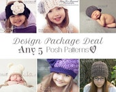 Knitting Patterns - Crochet Patterns - Discount Design Package - Choose ANY 5 - Crochet Pattern Baby - Crochet Patterns for Women