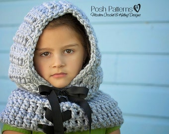 Crochet Patterns - Hooded Scarf Pattern - Crochet Hood Pattern - Hooded Cowl Pattern - Includes Baby, Toddler, Kids, Adult Sizes - PDF 389
