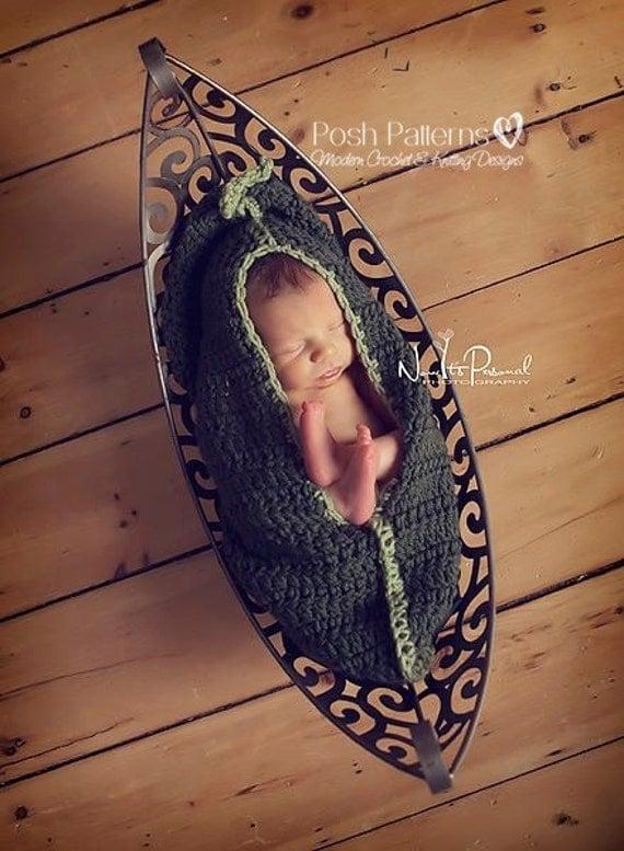 Crochet PATTERN - Newborn Pea Pod Cocoon Crochet Pattern - PDF 210 - Photo Prop Pattern