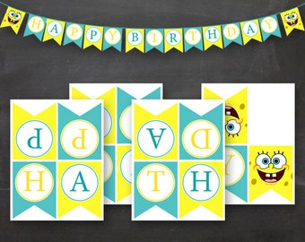 DIY Sponge  Birthday Flag Banner Blue Yellow Printable for Boy or Girl
