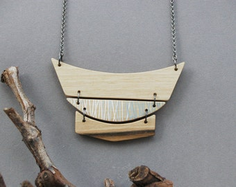 Geometric Necklace Modern Walnut  Wood  Necklace Natural Wood Necklace Eco Friendly Neutral