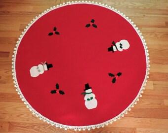 Christmas Tree Skirt 48 inch, Christmas Red Felt, White Pom Pom fringe