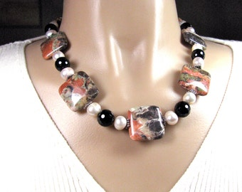 Red, white and black necklace, Ocean Jasper with Fresh Water Pearl beaded Necklace, Sterling Silver,  gemstones 078