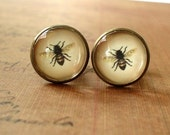 20% OFF -- 16 mm Vintage Style Honey Bee Cuff Links ,Mens Accessories,Perfect Gift Idea