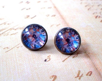 20 % OFF - Blue Multicolor Vintage Clock Cabochon Stud Earrings,Earring Post,Cute Gift Idea